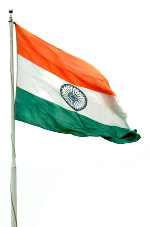 camera shot on Indian Flag with isolated background Stock Photo