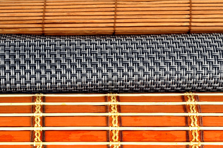 camera shot on Roll of bamboo curtain Stock Photo