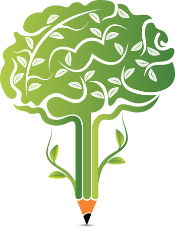 Illustration art of a tree brain icon with isolated background Stock Illustratie
