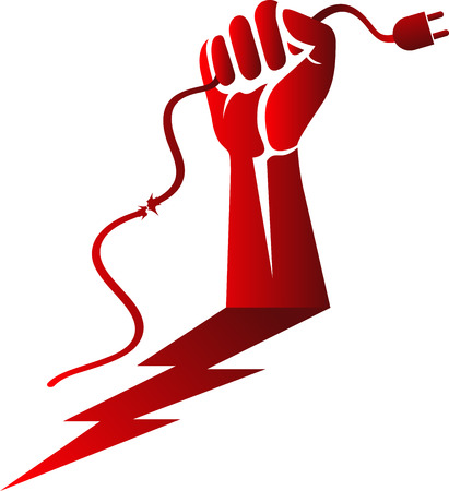 Illustration art of a  power cable hand risk icon with isolated background Illustration
