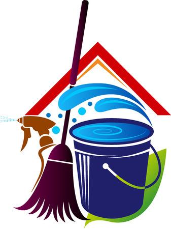 Illustrazione di un'icona di pulizia della casa con sfondo isolato