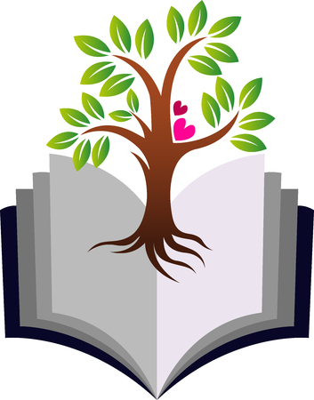 Illustration art of a education growth tree icon with isolated background