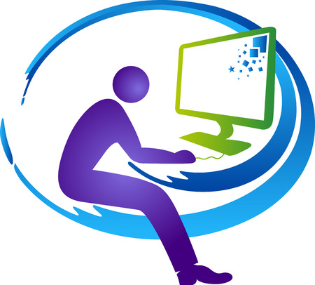 computer operator: Illustration art of a computer operator icon with isolated background