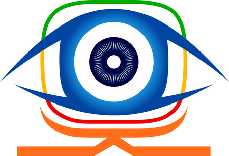 Illustration art of a eye vision icon with isolated background Illustration