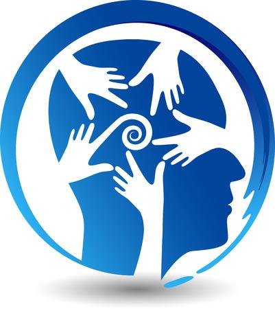 manos logo: Arte de la ilustración de un icono confundido mente con fondo aislado Vectores