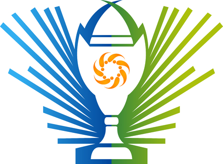 Illustration art of a champion award cup icon with isolated background