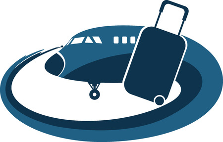 bagagli: Illustration art of a airplane tourist icon with isolated background Vettoriali