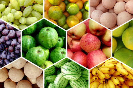comestible: Fresh fruits banana orange apple grape guayaba watermelon