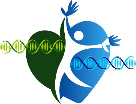 cromosoma: Arte de la ilustración de un icono de ADN activo con fondo aislado