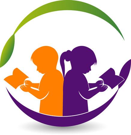 Illustratie kunst van een jongen en meisje lezen boek logo met geïsoleerde achtergrond