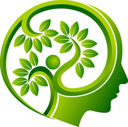 Illustration art of a human head leaf icon.
