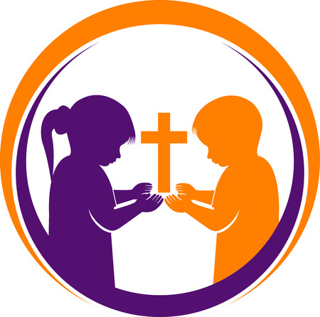 Illustration art of a  praying children icon with isolated background