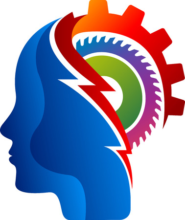 Illustration art of a mind gear icon with isolated background Illustration
