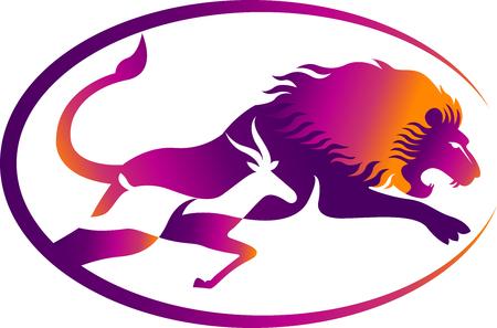 Art d'illustration d'un lion et le cerf, chassant l'icône avec fond isolé Banque d'images - 75109970