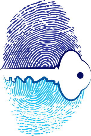 Illustration art of a fingerprint security key icon with isolated background