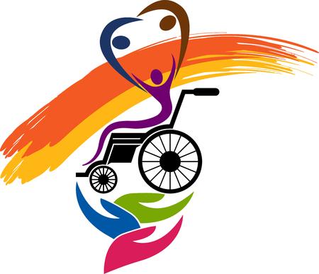 Illustratie kunst van een gehandicaptenzorg pictogram met geïsoleerde achtergrond Vector Illustratie