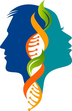 Illustration art of a Male and female DNA icon with isolated background Illustration