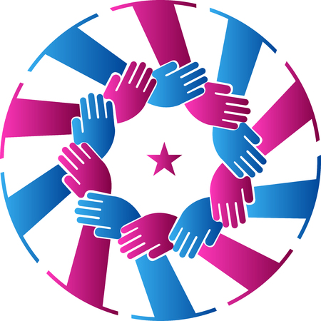 team hands: Illustration art of a team work hands icon with isolated background Illustration