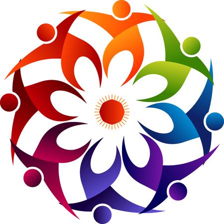 Illustratiekunst van een bloem rond volkerenpictogram met geïsoleerde achtergrond Stock Illustratie