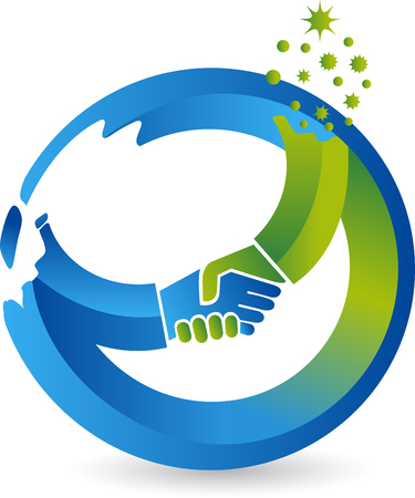 Illustration art of a circle handshake icon with isolated background
