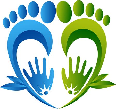 huellas pies: Arte de la ilustración de un pie de hierbas masaje icono con fondo aislado