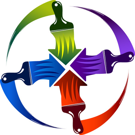 Illustration art of a paint brush icon with isolated background Illustration