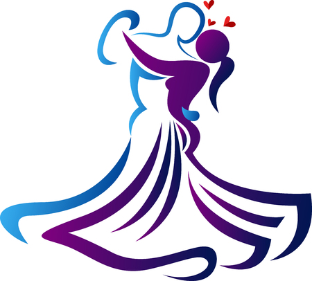 Illustration art of a romantic dance icon with isolated background