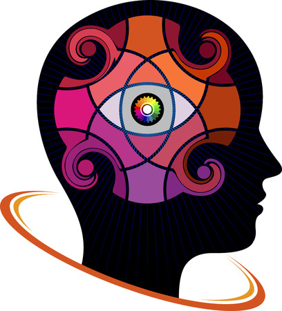 Illustration art of a brain watchful icon with isolated background
