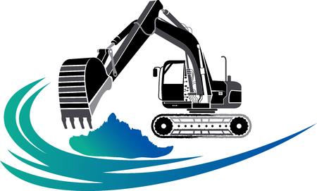 Arte dell & # 39 ; illustrazione di un & # 39 ; icona escavatore con sfondo isolato Vettoriali