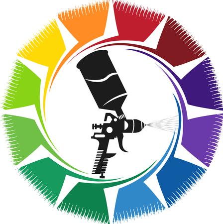Illustratiekunst van een nevelverfpictogram met geïsoleerde achtergrond Stock Illustratie
