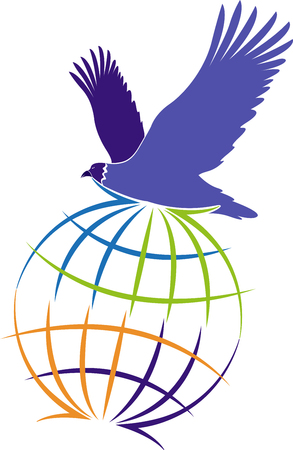 Illustration art of a globe eagle icon with isolated background Illustration