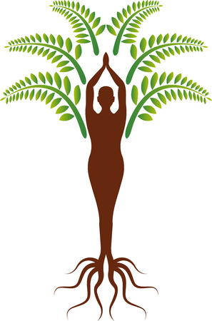 Illustration art of a yoga tree icon with isolated background