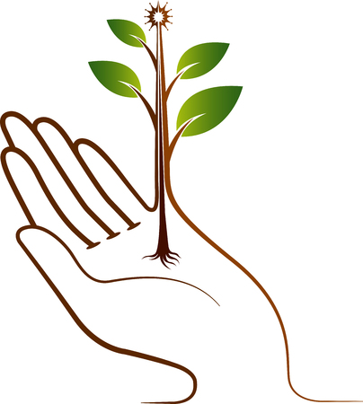 Illustration art of a hand plant icon with isolated background