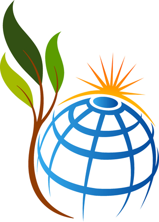 Illustration art of a Eco globe leaf icon with isolated background Illustration