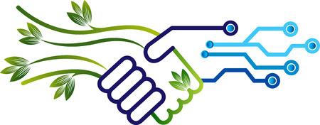Illustration art of a environmental and electronics friendly logo Logo