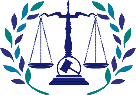 Illustration art of a justice law icon