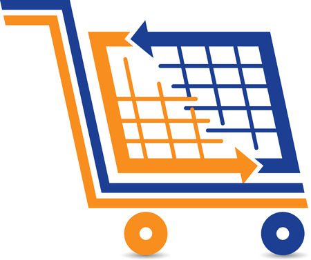 supermarket: Illustration art of a shopping trolley icon with isolated background Illustration