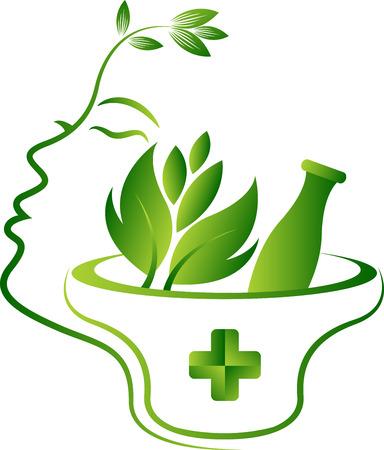 Arte de la ilustración de un icono de la cara de hierbas con fondo aislado
