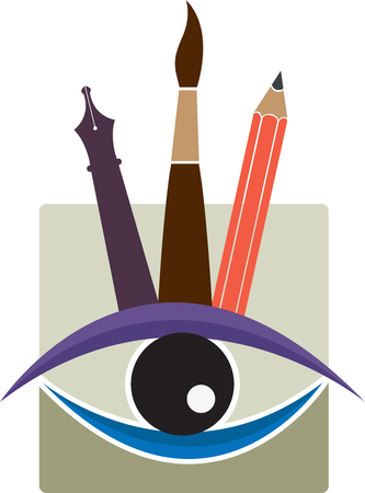 vision repair: Illustration art of a eyebrow threading icon with isolated background