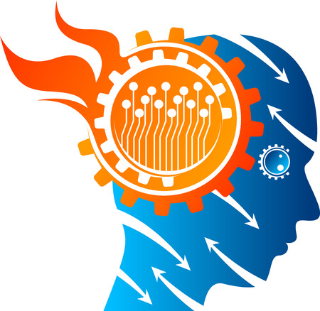 Illustration art of a tension mind gear icon with isolated background Vetores
