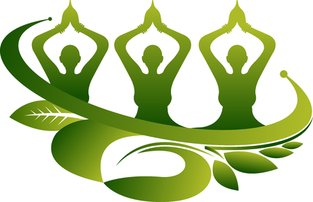 group therapy: Illustration art of a ecology group yoga icon with isolated background.