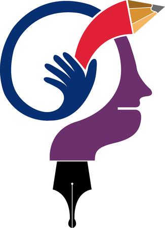 Illustratiekunst van een pictogram van het meningsonderwijs met geïsoleerde achtergrond