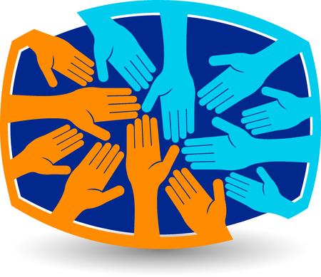Illustration art of a teamwork icon with isolated background  イラスト・ベクター素材