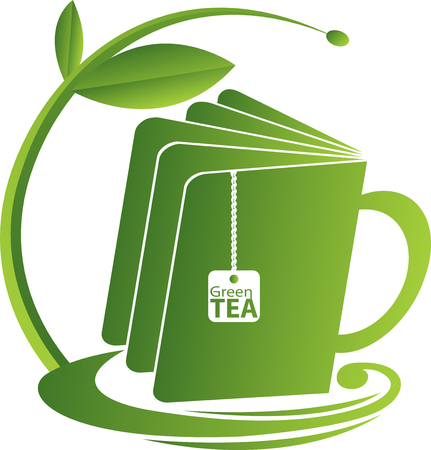 Illustration art of a book tea icon with isolated background