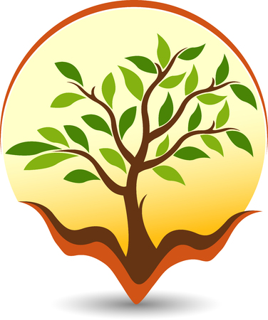 Illustration art of a care tree icon with isolated background Vectores