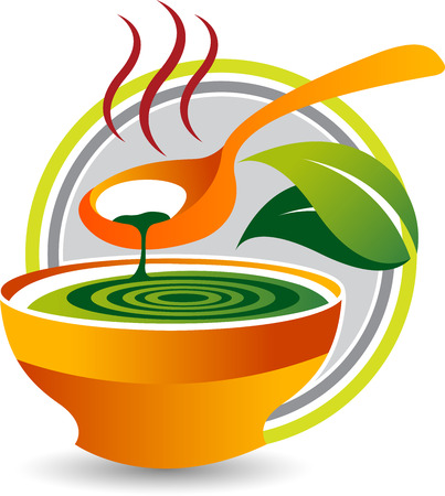 Illustration art of a herbal soup icon with isolated background