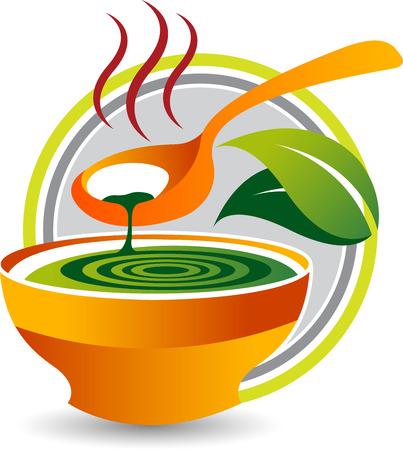 Ilustracja sztuki ikony zupy ziołowej z na białym tle Ilustracje wektorowe