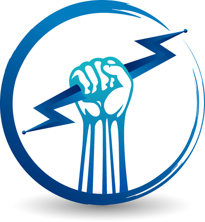 Illustration art of a hand power icon with isolated background