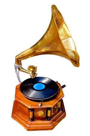 closeup shot on antique gramophone with isolated background Stock Photo