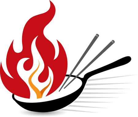 Illustration art of a flame frying pan icon with isolated background